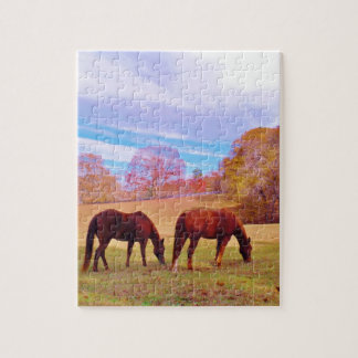 2 Brown horses in a colored field Jigsaw Puzzles