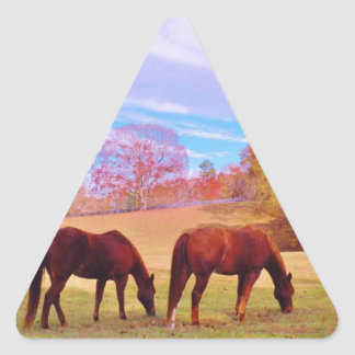 2 Brown horses in a colored field Triangle Sticker