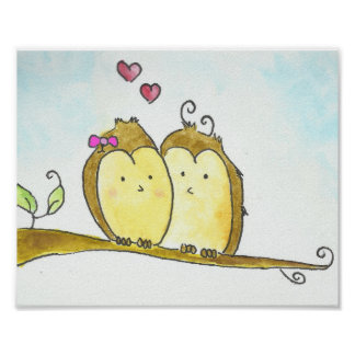 2 brown Owls Cuddling Together Watercolor Poster