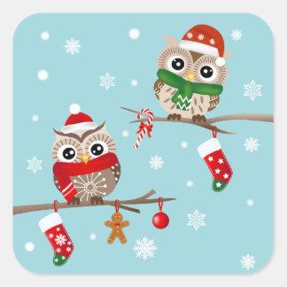 2 búhos en los pegatinas de las ramas del navidad pegatina cuadrada