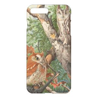 2 búhos enojados del vintage en un árbol funda para iPhone 7 plus