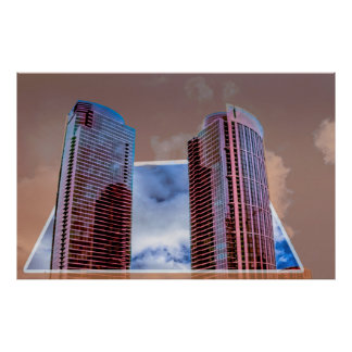 2 building's in 3D, poster