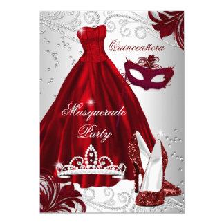 2 Burgundy Silver Dress masquerade Quinceanera Card