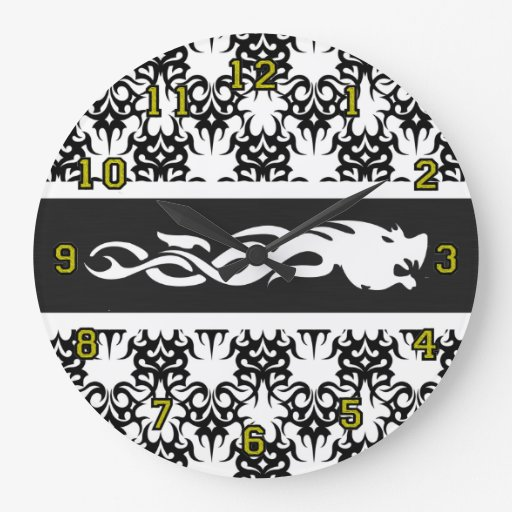 2 BW tribal Reloj Redondo Grande