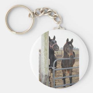 2 caballos del granero llavero redondo tipo pin