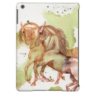 2 caballos en la caja verde serpentina del arte de funda para iPad air