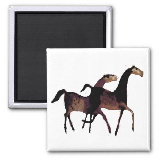 2 caballos imán cuadrado