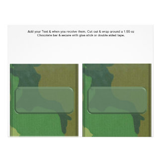 "2 Camouflage Birthday Custom Candy Bar Wrappers 8.5"" X 11"" Flyer"