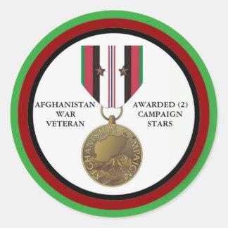 2 CAMPAIGN STARS AFGHANISTAN WAR VETERAN CLASSIC ROUND STICKER