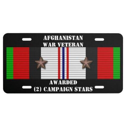 2 CAMPAIGN STARS AFGHANISTAN WAR VETERAN LICENSE PLATE