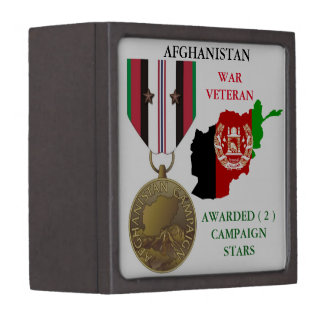 2 CAMPAIGN STARS AFGHANISTAN WAR VETERAN PREMIUM KEEPSAKE BOX