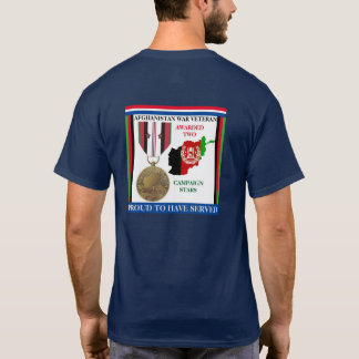 2 CAMPAIGN STARS AFGHANISTAN WAR VETERAN T-Shirt