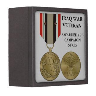 2 CAMPAIGN STARS IRAQ WAR VETERAN PREMIUM KEEPSAKE BOX