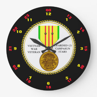 2 CAMPAIGN STARS VIETNAM WAR VETERAN LARGE CLOCK
