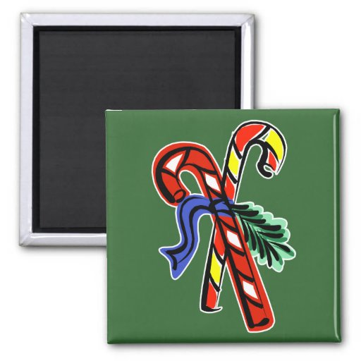 2 candy canes and ribbon refrigerator magnets