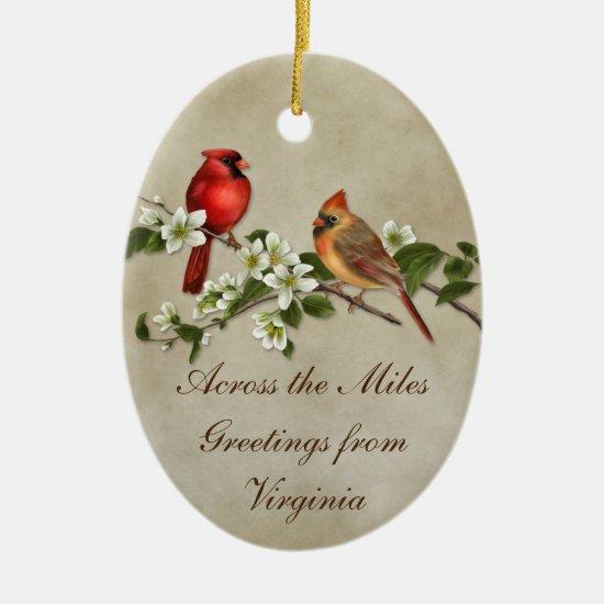 #2 Cardinals Dogwoods Across The Miles Christmas Ceramic Ornament