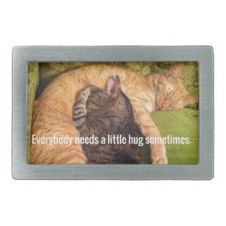 2 Cats Cuddling and Sleeping Rectangular Belt Buckle