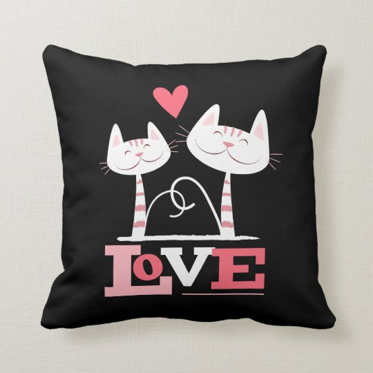 2 Cats in Love Throw Pillow