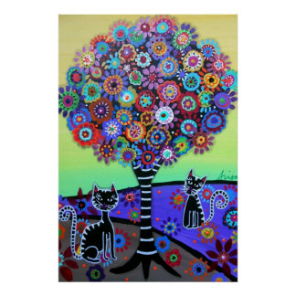 2 CATS WHIMSICAL TREE PAINTING POSTER