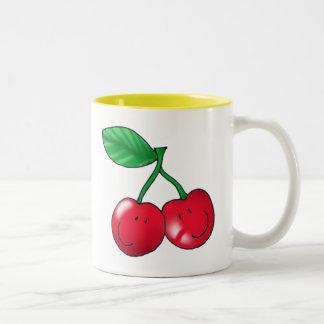 2 cherries Two-Tone coffee mug