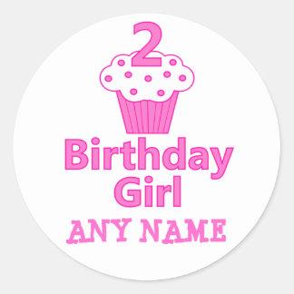 2 - Chica del cumpleaños - diseño de la magdalena Etiqueta