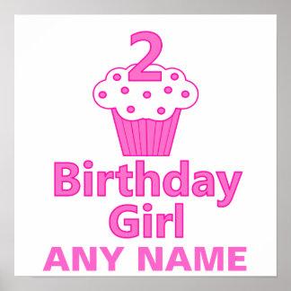 2 - Chica del cumpleaños - diseño de la magdalena Póster