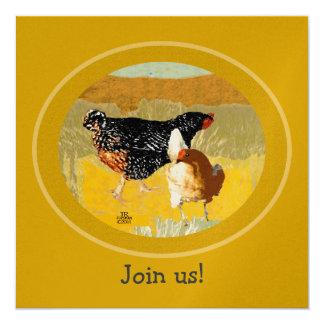 2 chickens fancy collage art Invitation