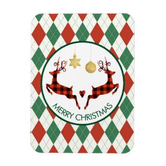 2 Christmas Deer Jumping Rustic Style Magnet