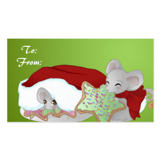 2 Christmas mice Gift tag Business Card Template