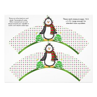 2 Christmas Penguin Personalized Cupcake Wrappers Flyer