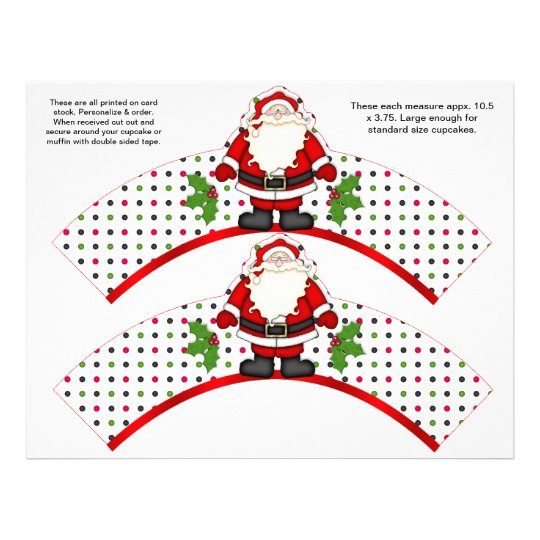 2 Christmas Santa Personalized Cupcake Wrappers