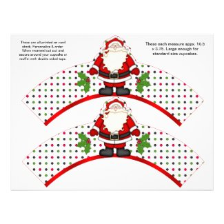 2 Christmas Santa Personalized Cupcake Wrappers Flyers