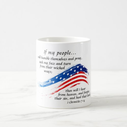 2 Chronicles 714 Scripture American Flag Coffee Mug