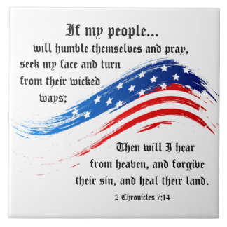 2 Chronicles 7:14 Scripture, American Flag Tile