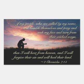2 Chronicles 7:14 Scripture Praying at Sunset Rectangular Sticker