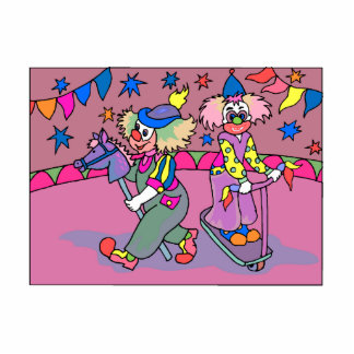 2 clowns playing in big top statuette