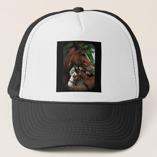 2 clydesdale heads black trucker hat