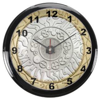 """£2 Coin"" design wall clocks Fish Tank Clock"