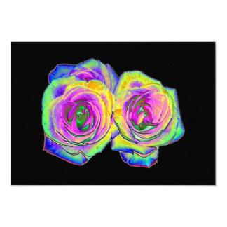 2 Colored Foil Roses (#1) 3.5x5 Paper Invitation Card