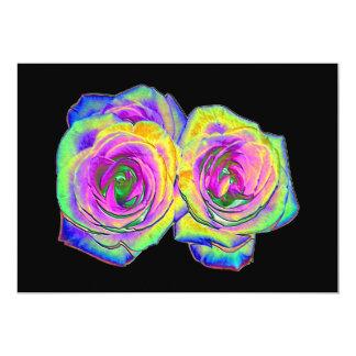 2 Colored Foil Roses (#1) 5x7 Paper Invitation Card