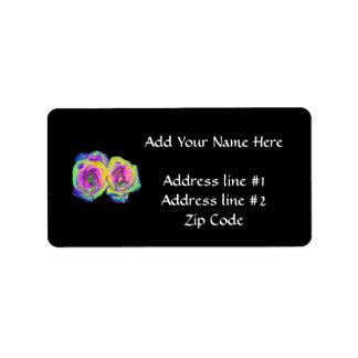 2 Colored Foil Roses (#1) Label