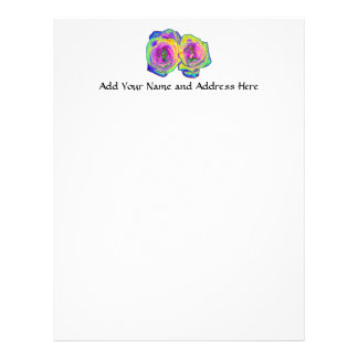 2 Colored Foil Roses (#1) Letterhead