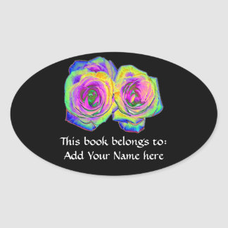 2 Colored Foil Roses (#1) Oval Sticker