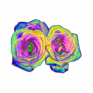 2 Colored Foil Roses (#1) Photo Sculptures