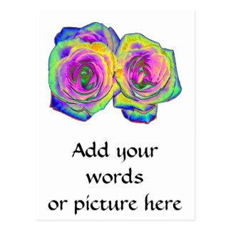 2 Colored Foil Roses (#1) Postcard