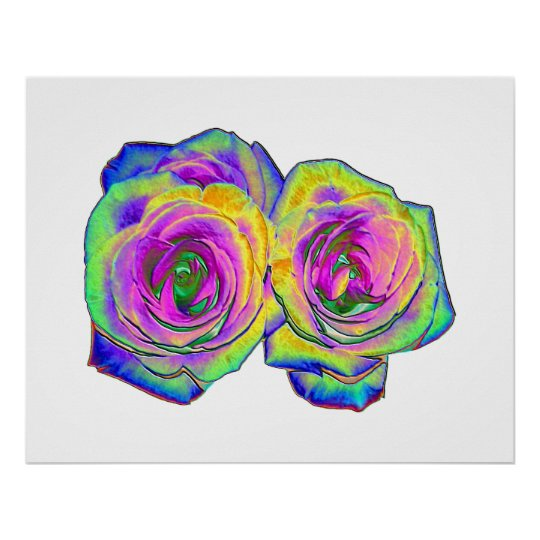 2 Colored Foil Roses (#1) Poster
