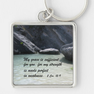 2 Cor. 12:9 Silver-Colored Square Keychain