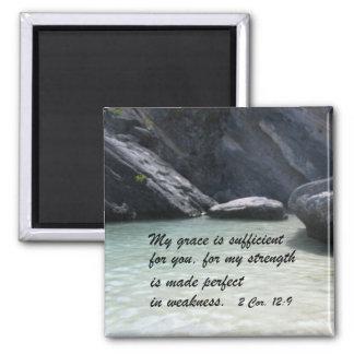 2 Cor. 12:9 2 Inch Square Magnet