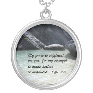 2 Cor. 12:9 Round Pendant Necklace