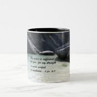 2 Cor. 12:9 Two-Tone Coffee Mug